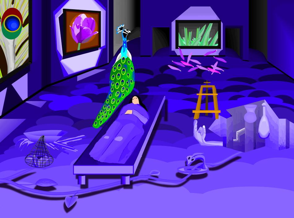 Museum, Pfau, Modern Art, Aquarell, violett, schlaf, Staffelei, 3d-Zeichnung, Abgrund, violett, Grafik, Grafikdesign