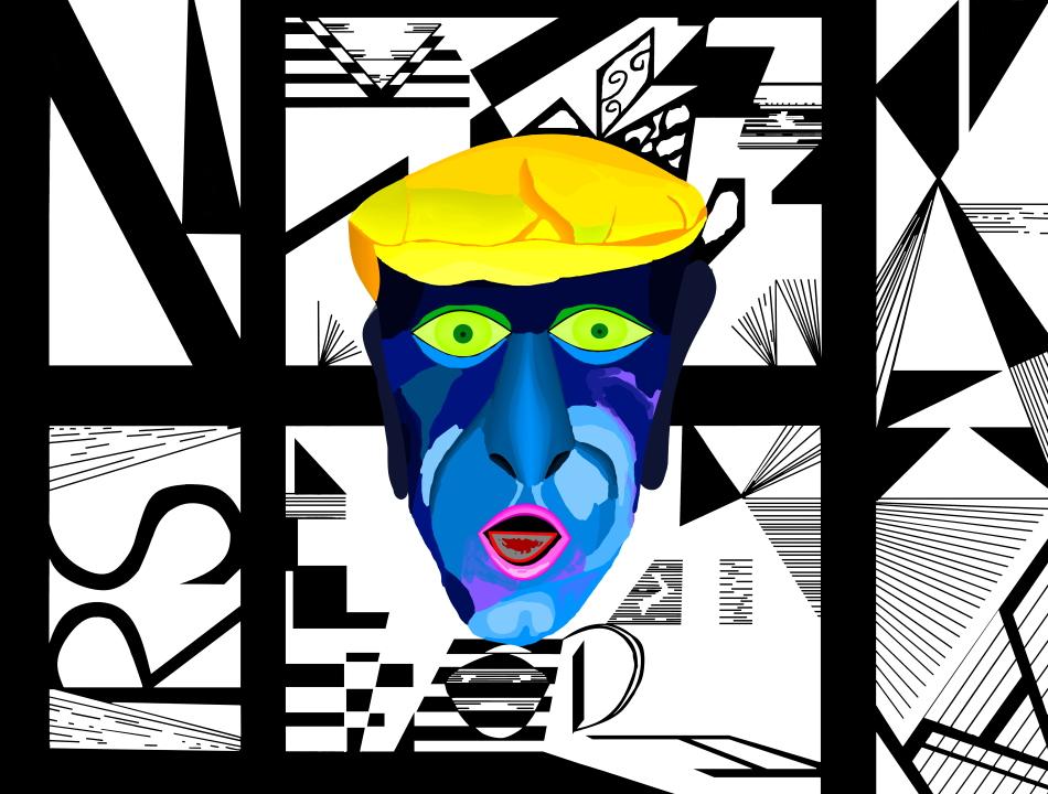 schwarz-weiß, Dadaismus, Surrealismus, Geometrie, Striche, Grafik, Kunst, moderne Kunst, Porträt,