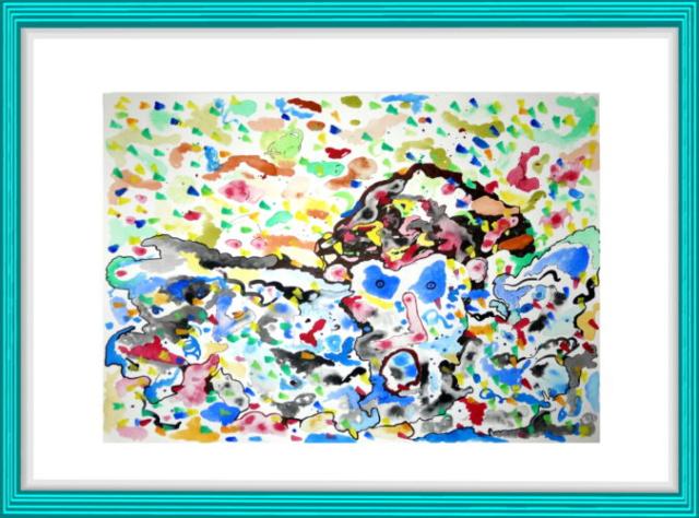 Hirameki, Peng und Hu, Kleckse, modern art,