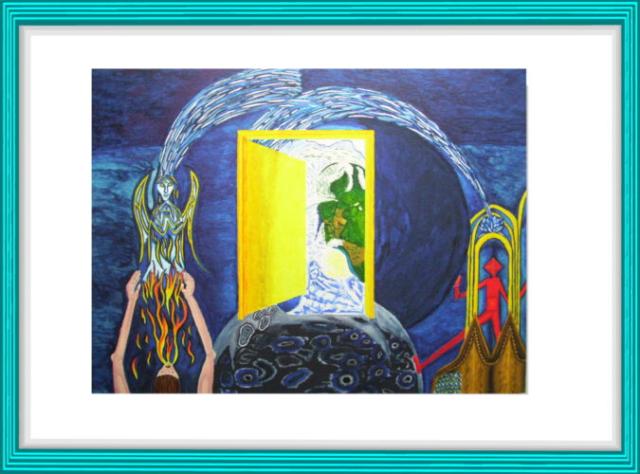 Malerei, Kunst, Kubismus, Aquarell, Modern Art, Mond, Engel, Stephansdom