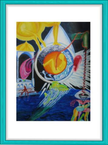 Malerei, Kunst, Aquarell, Surrealismus, Nabelschnur, gelb, orange, Fisch, Korallen