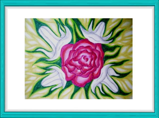 Aquarell, Blume, rot, weiß, Lilien, Heiliger Geist, Feuer, Modern Art, Kunst