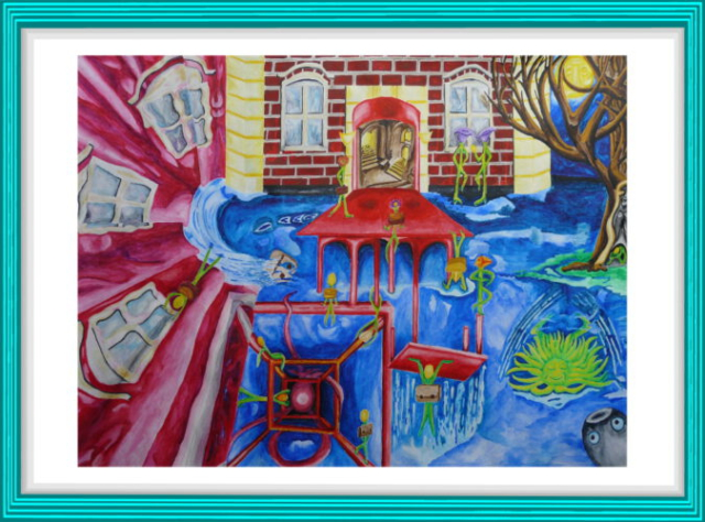 Malerei, Kunst, Nachdenken über Christa T.,, Modern Art, roter Stuhl, Schule