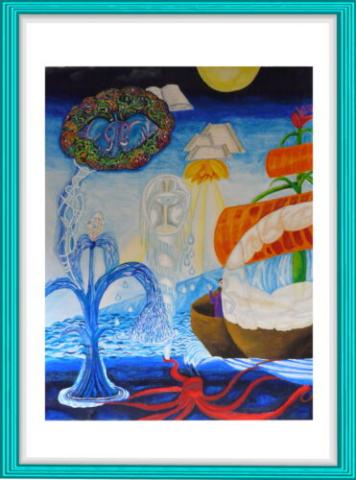 Malerei, Kunst, Aquarell, Krebsnebel, Segelboot, Diamant, Krake, Modern Art, Wasser, Meer, Wolke, Buch, Wasserfontäne