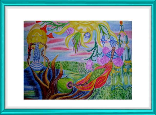 Malerei, Kunst, Aquarell, Surrealismus, Kreislauf des Lebens, Sonne, Mond, Salamander, Schmetterling, Heilkräuter