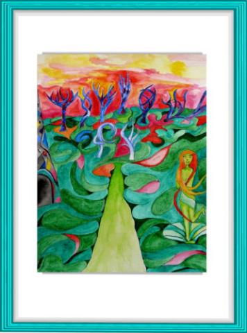 Malerei, Kunst, Aquarell, Joseph von Eichendorff, grün, Sonnenaufgang, Venus