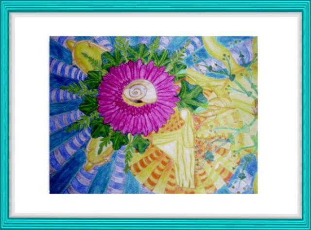 Malerei, Kunst, Blume, Engel, Lichtgestalt, Schnecke, Modern Art