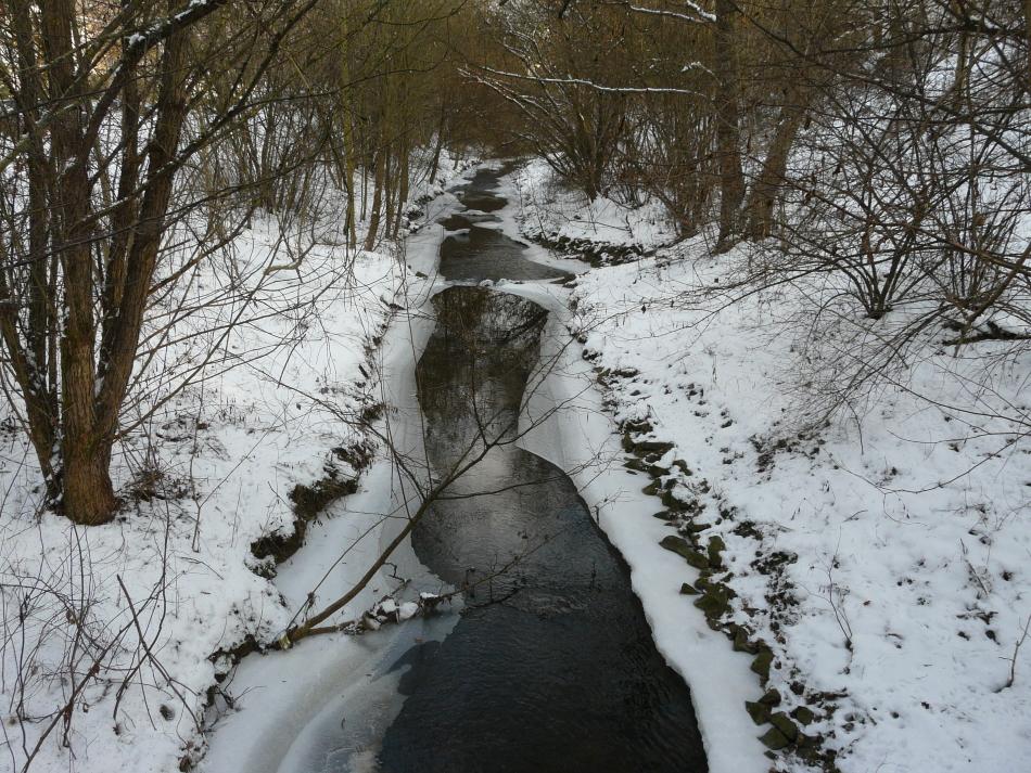 Bach in Winterlandschaft