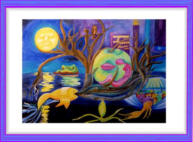 Aquarell, moderne Kunst, Frau, Nacht, Mond, Fische, Frosch, Eule, Großstadt, verschwommene Lichter