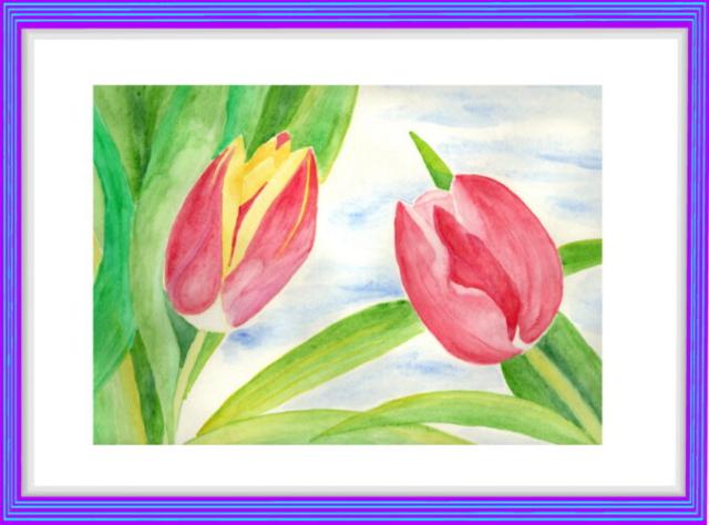 Aquarell, pink, rosa, grün, blau, Himmel, gelb, moderne Kunst, Modern Art
