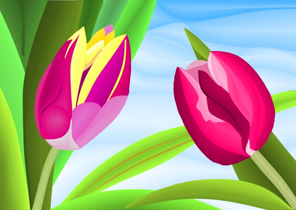 pink, gelb, Himmel, bewegt, Blätter, Grafik, Kunst, Kunstwerk