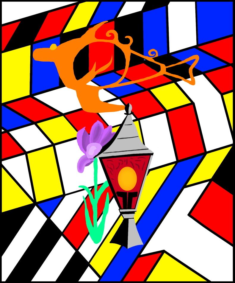 Geometrie, moderne Kunst, modern Art, Lampe, Blume, blau, rot, gelb, weiß, schwarz,