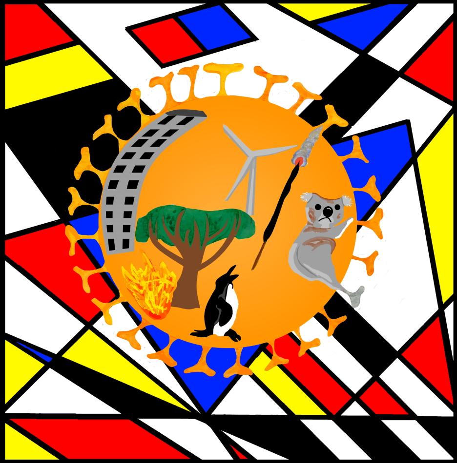 Geometrie, Pinguin, Hochhaus, Räucherstäbchen, Koalabär, Klimaschutz, blau, schwarz, rot, Modern Art, Baum, Windrad