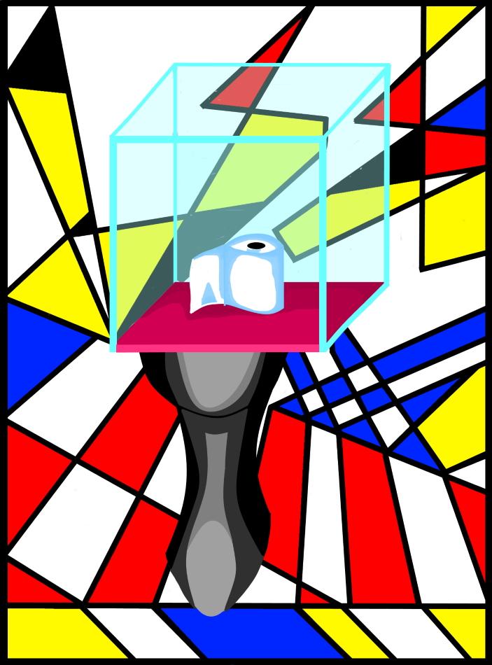 Museum, Toilette, Glasgehäuse, Geometrie, blau, rot, weiß, schwarz, Glas,