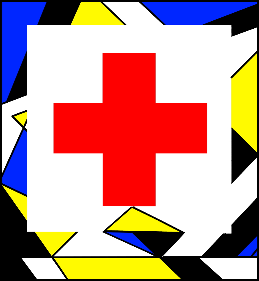 Rotes Kreuz, Grafik, Modern Art, Geometrie, gelb, blau, schwarz