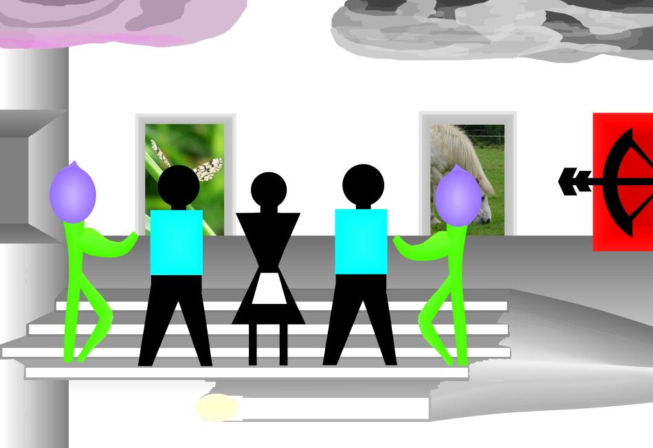 Grafik, Kunst, moderne Kunst, Kubismus, Konstruktivismus, Menschen, Oper, Mozart, Hand, Bühne, Wolke, rosarote Wolke, Pferd, Schachbrettschmetterling,