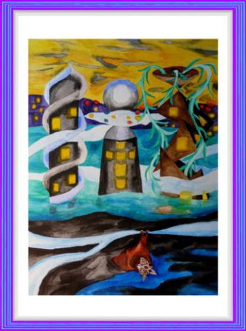 Aquarell, Architektur, Turm, Nebel, Schale, Modern Art, Hochhaus, Pyramide, Superbauten, gelb, blau
