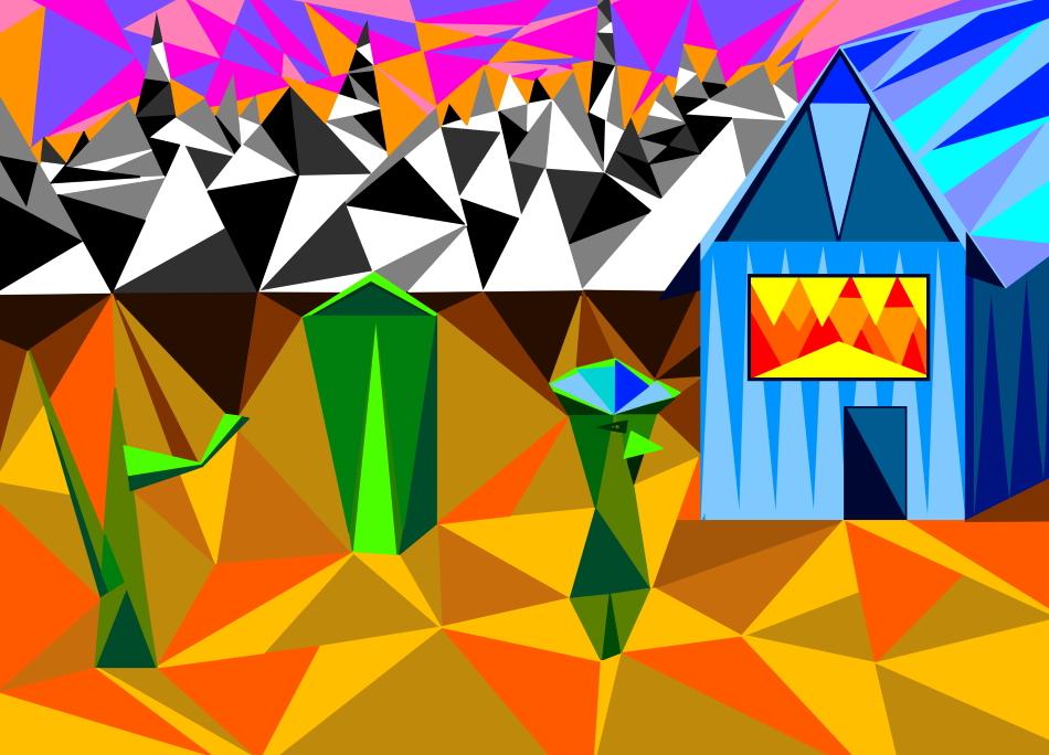 Grafik, Geometrie, Dreiecke, Frida Kahlo, Mexiko, Wüste, Berge, Himmel, Purple Lake, Kaktus, Haifisch, schwarz, weiß, braun, gelb,
