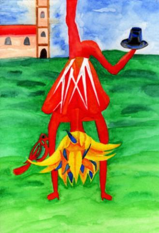Kurt Schwitters, Gedicht, Kirche, Blume, gelb, Handstand, rot, weiß, Hut, blau, Kirche, Wiese, Vogel