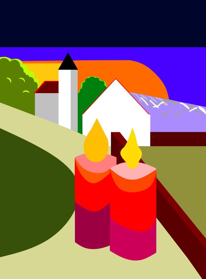 2. Advent, Zweiter Advent, Grafik, Kirche, Sonnenuntergang, Kerzen, brennend, Mauer, Haus, Landschaft