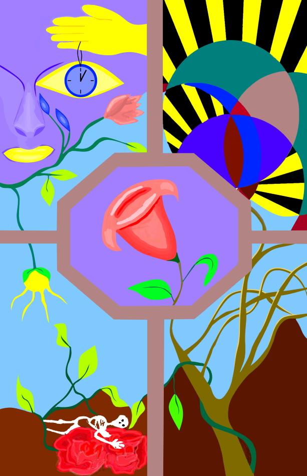 Gesicht, violett, Geometrie, Grafik, Modern Art, Skelett, Rose, Sonne, Blume, Baum, Uhr, Auge, Hand, gelb, Erde