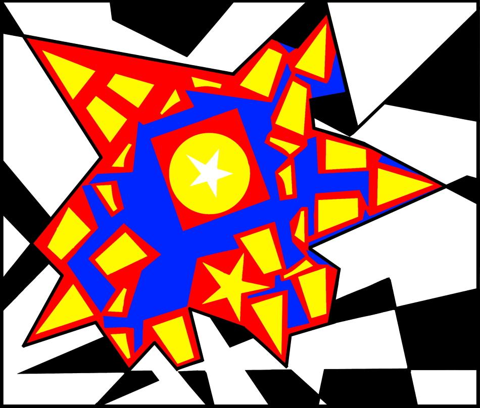 Geometrie, Design, Grafikdesign, zerbrochener Stern, rote Grenzen, schwarz, weiß