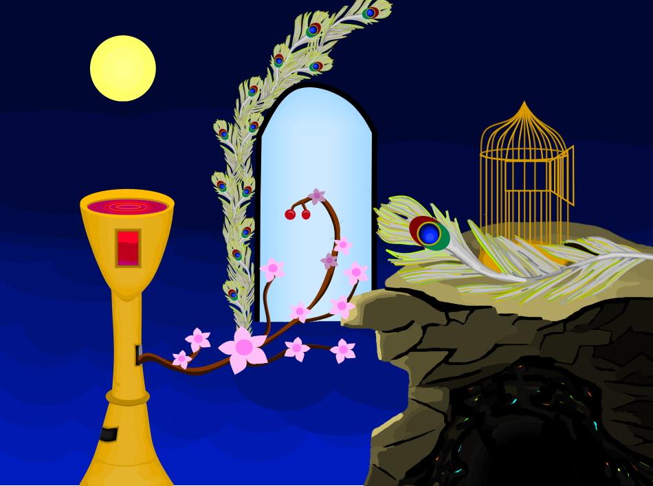 Heilige Barbara, Kelch, Mond, Rotwein, Höhle, Pfauenfeder, Nachthimmel, Kirschzweig, Kirschblüte, Kirsche, Wein, Rotwein, Käfig, Vogelkäfig, Design, Grafikdesign
