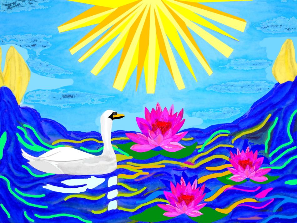 Grafik, Grafikdesign, Lotus, Sonne, Wasser, Wasserspiegelung, See