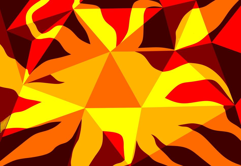 Sonnenschein, gelb, rot, Dreiecke, geometrische Formen, Geometrie, Grafik, Grafikdesign