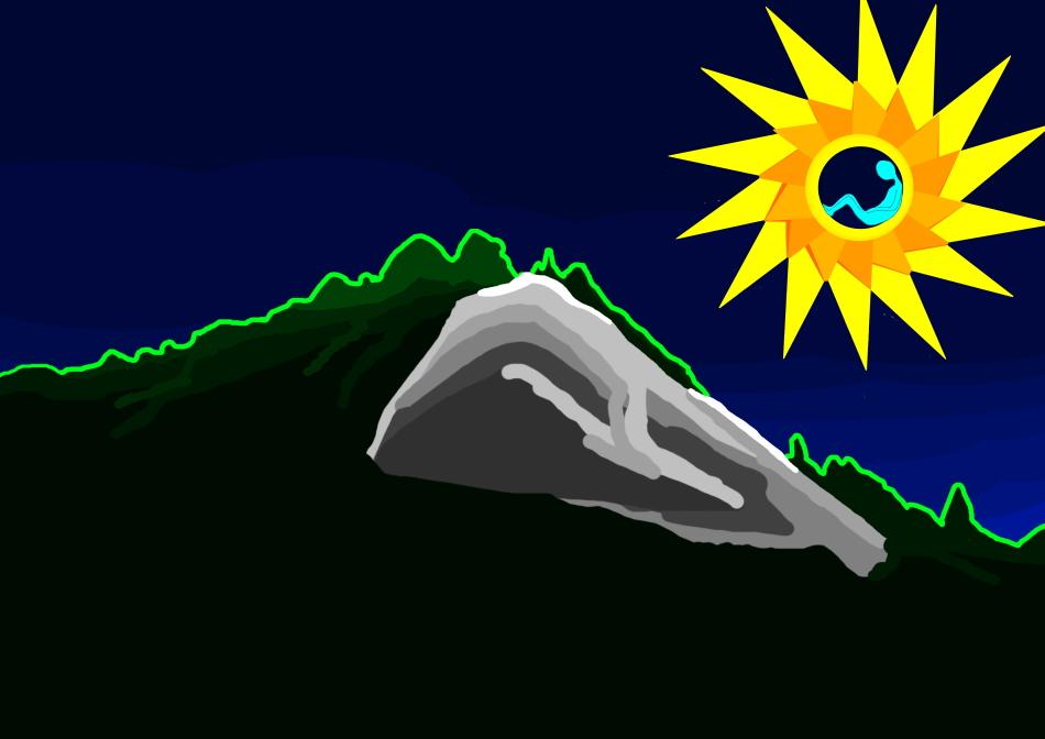 Nachthimmel, Winter, Berg, Schnee, Bäume, Mensch, Grafik, Kunst, Modern Art,