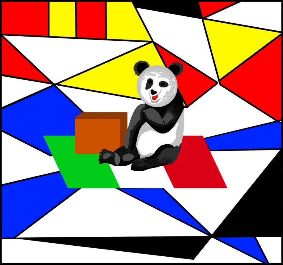 Bauhaus-Stil, Grafik, Grafikdesign, Geometrie, blau, gelb, rot, schwarz, Paket, Kiste, Flagge Italien