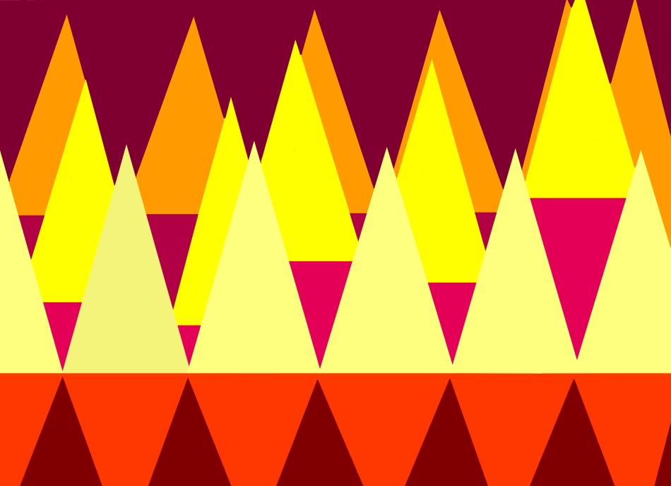 Dreiecke, Grafik, Grafikdesign, rot, gelb, orange, Geometrie, geometrische Form