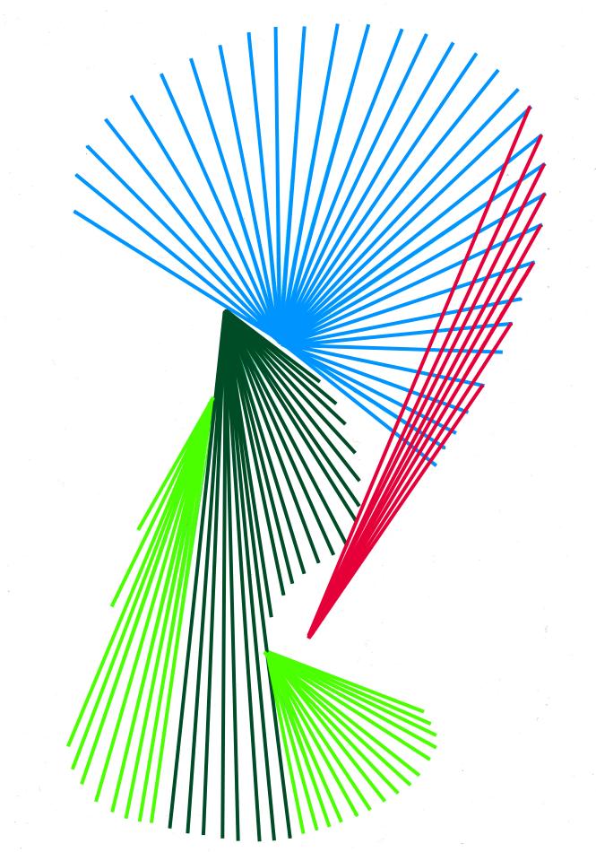Fadenbild, blau, Kreisförmig, rot, grün
