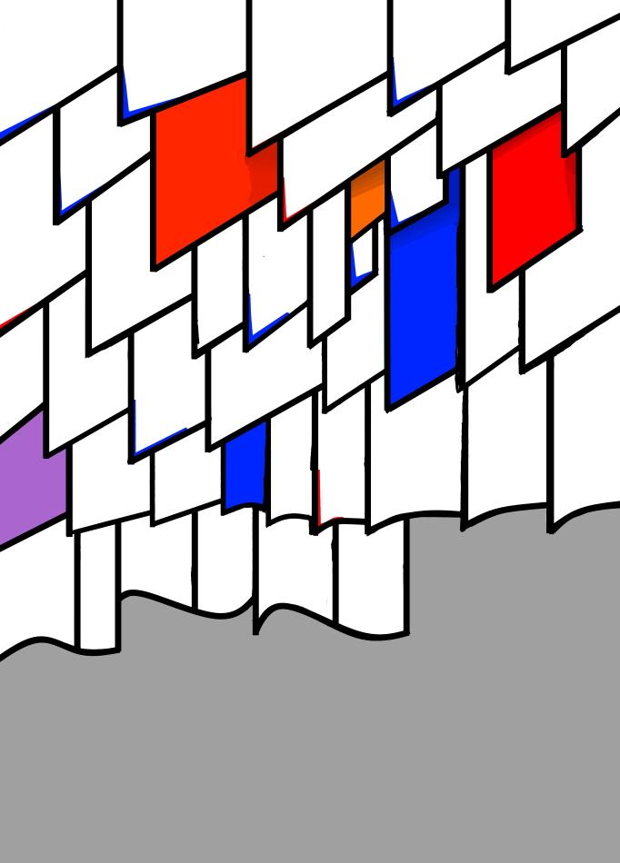 Grafik, blau, rot, orange, schwarz, weiß, grau, violett,