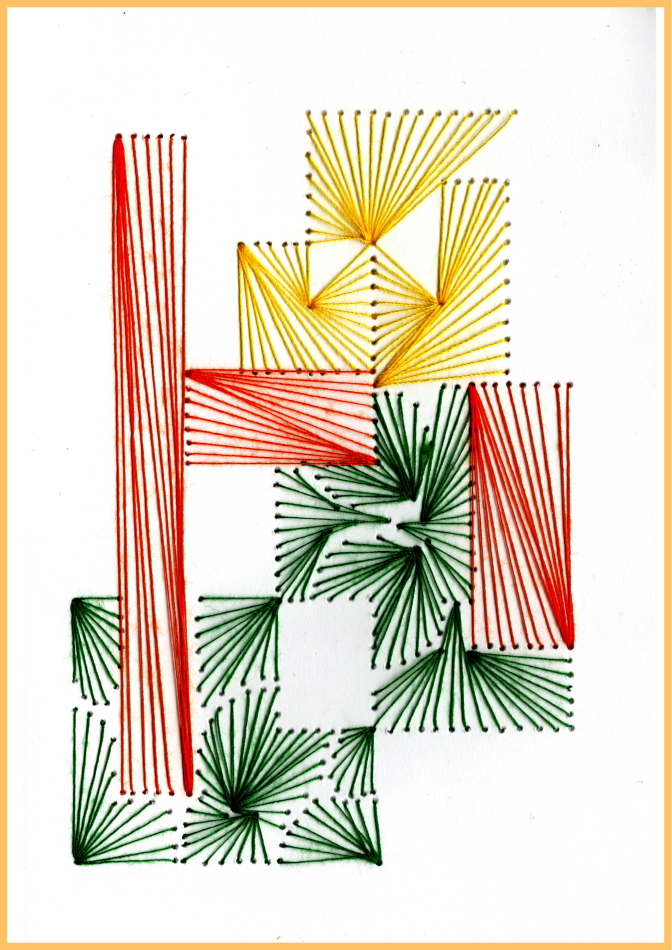 Papierstickerei, Fadenbild, Faltkarte, Grußkarte, gelb, orange, grün, Modern Art, exklusive Faltkarte,
