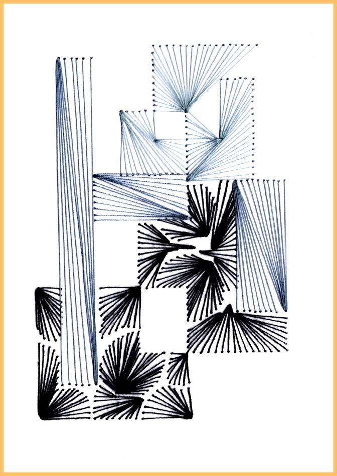 exklusive Faltkarte, Grußkarte, Kunst, moderne Kunst, Fadenbild, Trauerkarte, schwarz, grau