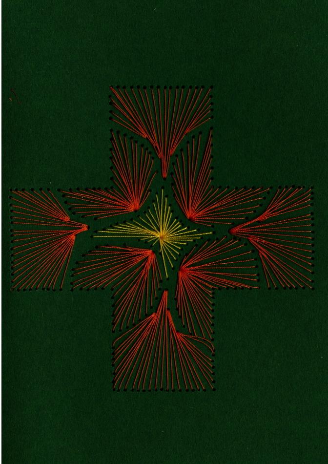 Fadenbild, Papierstickerei, orange, gelb, grün, exklusive Faltkarte
