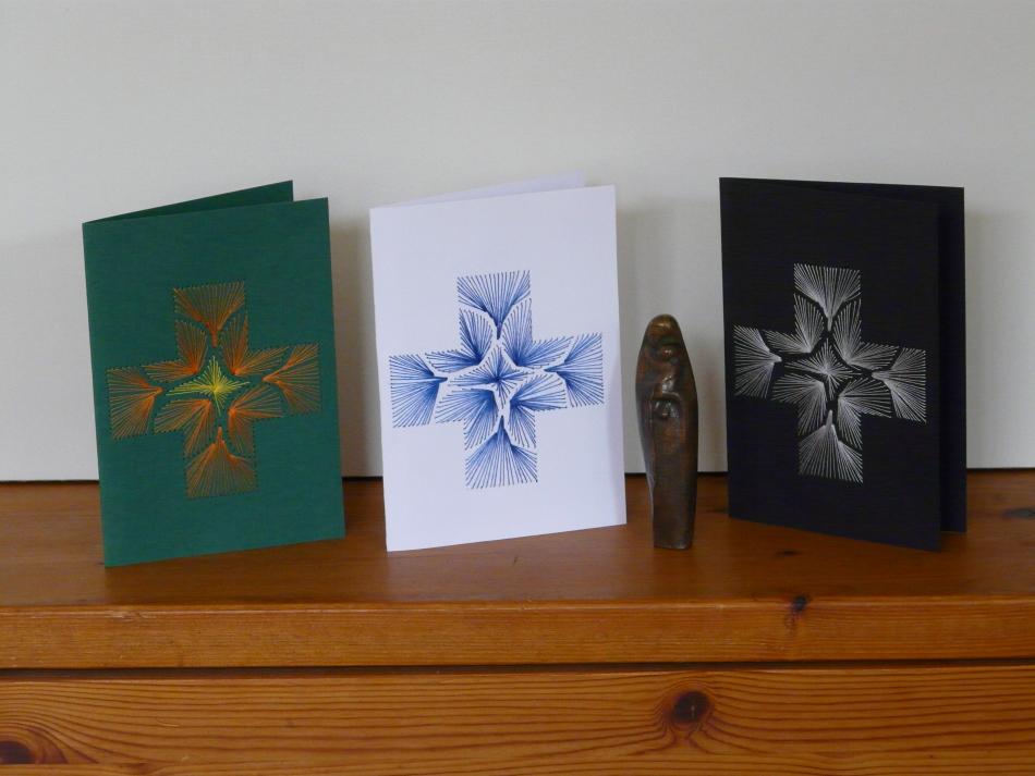 Fadenbild, Papierstickerei, Grußkarte, Faltkarte