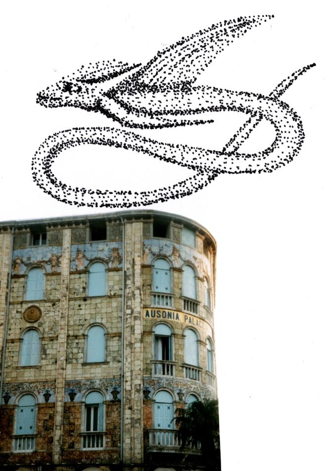 Starenschwarm, Kunst, Formation, Grafik, Italien, Hochhaus, abgerundetes Haus