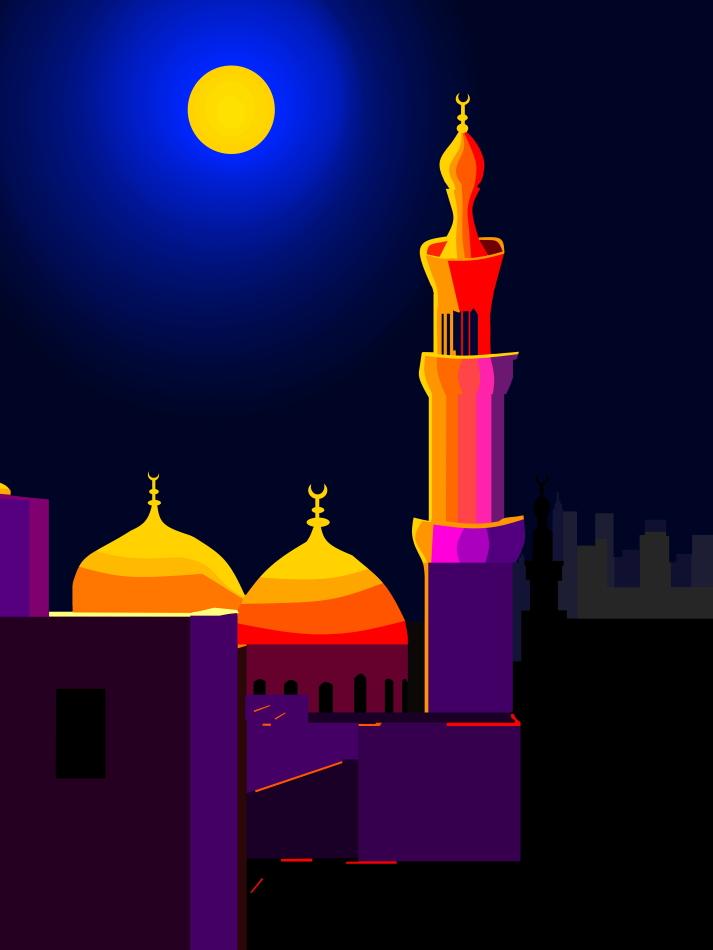 Moschee, Kuppeln, violett, blau, Tausendundeine Nacht, märchenhaft, violett, Purple Lake