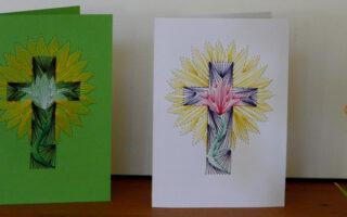 Fadenbilder, Papierstickerei, Tulpen