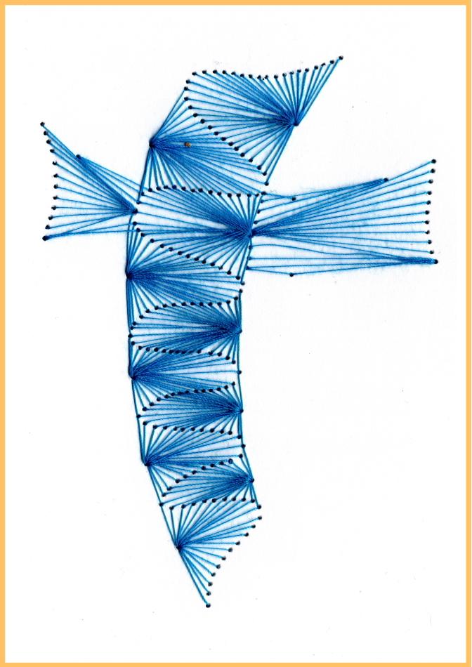 Fadenbild, Papierstickerei, exklusive Faltkarte, Grußkarte, blau