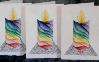Faltkarte, exklusiv, Grußkarte, Papierstickerei, die besondere Karte,Regenbogen, rot, orange, gelb, blau, grün, türkis, violett, purpur