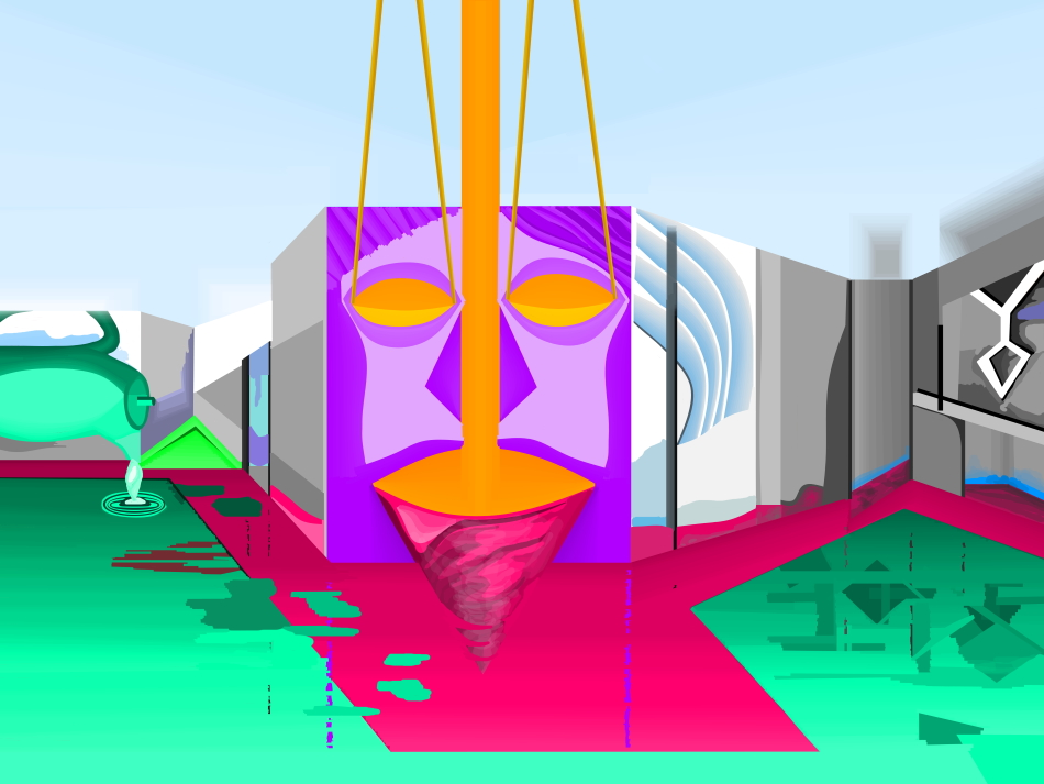 Grafik, Moderne Kunst, Kunst, Bauhaus, Architektur, Verfremdung, Gesicht, Kreisel, Wasser, Kanne,
