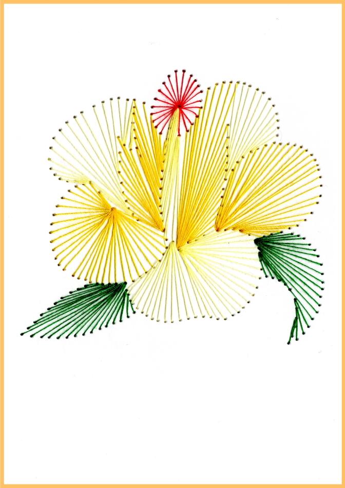 Fadenbild, Papierstickerei, exklusive Faltkarte, Grußkarte, Blume, gelb, exotisch