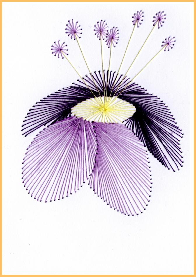Fadenbild, Papierstickerei, exklusive Faltkarte, Grußkarte, Blume, exotisch, violett