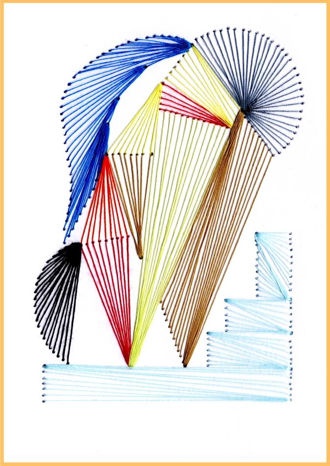 exklusive Faltkarte, Grußkarte, Fadenbild, abstrakt, moderne Kunst, Wassily Kandinsky, Himmelsstufen