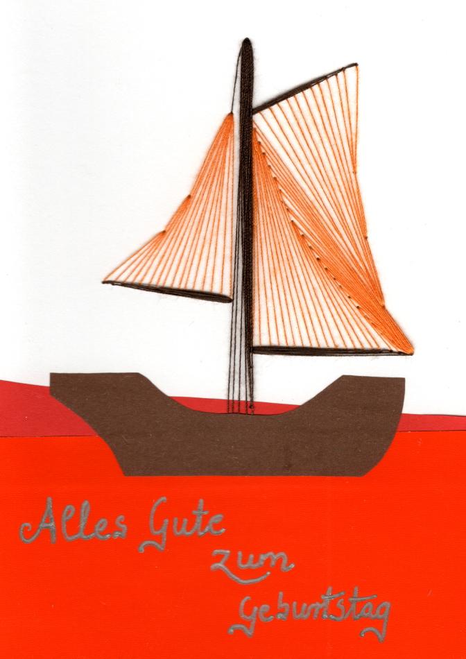 exklusive Faltkarte, Fadentechnik, Grußkarte, Grafik, moderne Kunst, orange, Wasser, Schiff, Segelboot,