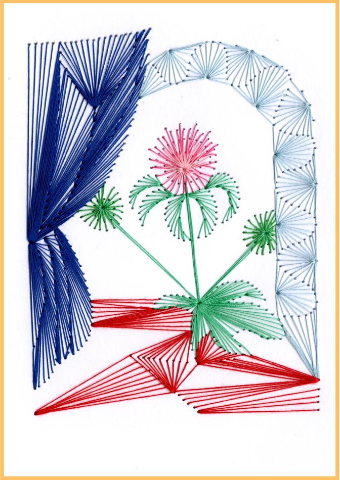 exklusive Faltkarte, Fadentechnik, moderne Kunst, Mariendistel, Himmelspforte, Vorhang,
