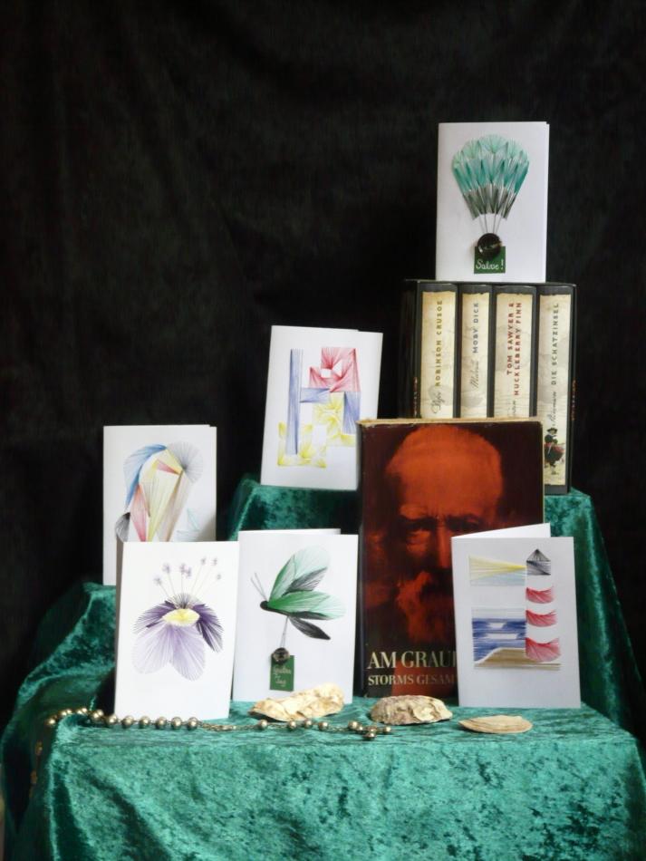 exklusive Faltkarte, Grußkarte, Kunst, moderne Kunst, Fadenbild